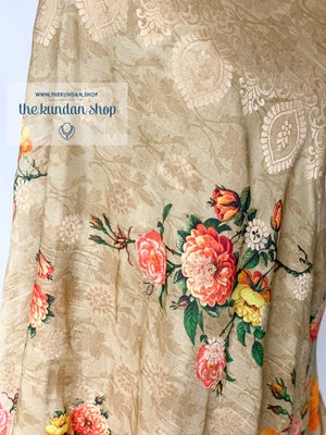 Banarsi Floral - Dark Cream/Gold, Dupatta - THE KUNDAN SHOP