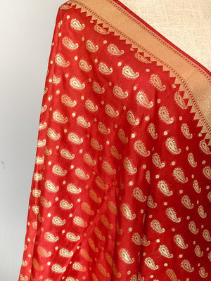 Paisley Red Banarsi, Dupatta - THE KUNDAN SHOP