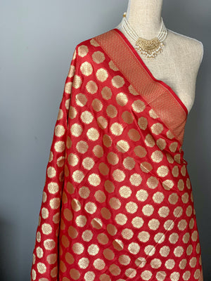 Floret Banarsi - Red, Dupatta - THE KUNDAN SHOP
