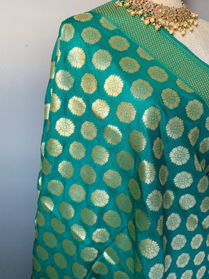 Floret Banarsi - Green, Dupatta - THE KUNDAN SHOP
