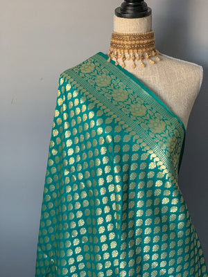Traditional Green Banarsi Dupatta, Dupatta - THE KUNDAN SHOP