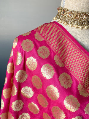 Floret Banarsi - Pink, Dupatta - THE KUNDAN SHOP