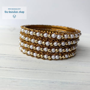 Pearl & Gold Bead Bangles, Bangles - THE KUNDAN SHOP
