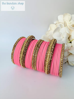 Rhinestone & Matte in Bubblegum Pink, Bangles - THE KUNDAN SHOP