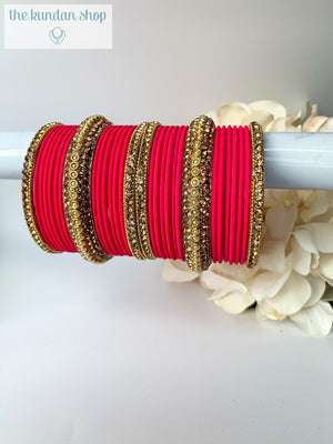 Rhinestone & Matte Dark Pink, Bangles - THE KUNDAN SHOP