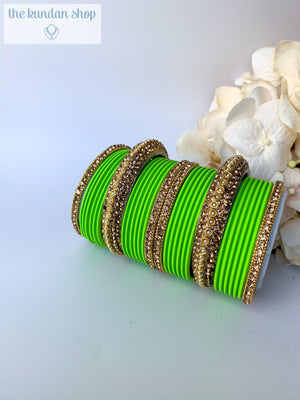 Rhinestone & Matte Light Green Bangles, Bangles - THE KUNDAN SHOP