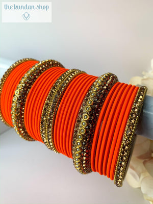Rhinestone & Matte Orange, Bangles - THE KUNDAN SHOP