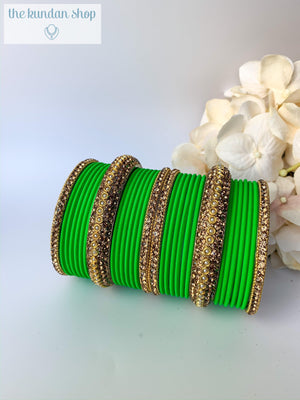 Rhinestone & Matte Spring Green, Bangles - THE KUNDAN SHOP