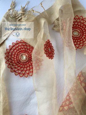 Red Mandala Stole, Dupatta - THE KUNDAN SHOP
