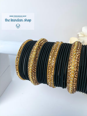 Rhinestone & Matte Black Bangles, Bangles - THE KUNDAN SHOP