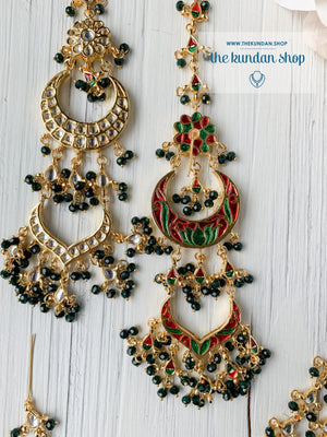 Ornate in Black Earrings + Tikka THE KUNDAN SHOP