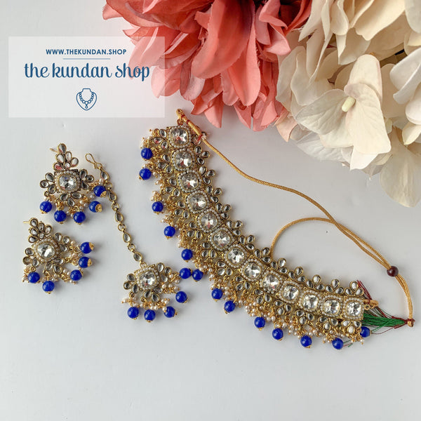 Detailed - Blue, Necklace Sets - THE KUNDAN SHOP