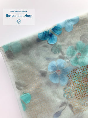 Blue Flowers in Light Blue, Dupatta - THE KUNDAN SHOP