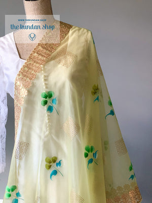 Blue Flowers in Green, Dupatta - THE KUNDAN SHOP