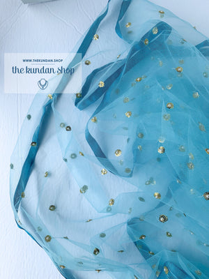 Silk & Net - Blue, Dupatta - THE KUNDAN SHOP