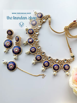 Summer Evenings in Blue, Necklace Sets - THE KUNDAN SHOP