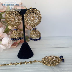 Blue Moon, Earring + Tikka - THE KUNDAN SHOP