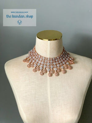 Evening Hours in Rose Gold, Necklace Sets - THE KUNDAN SHOP