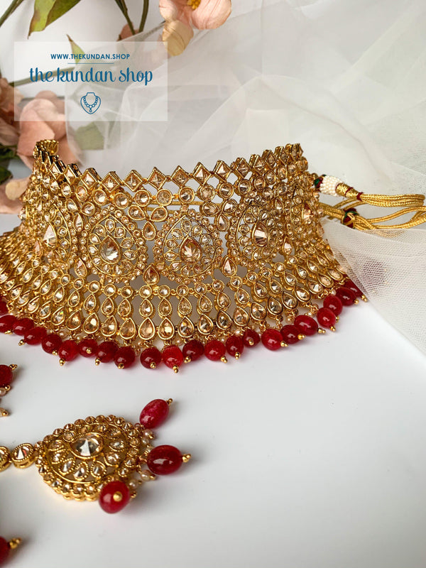 Gratify in Red/Ruby, Necklace Sets - THE KUNDAN SHOP