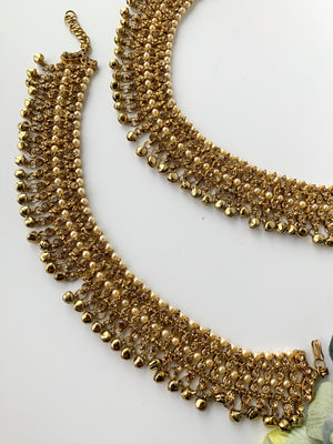 Statement Rhinestone Anklets in Champagne, Anklets - THE KUNDAN SHOP