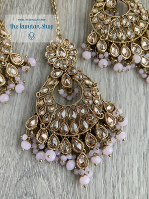 Scandal in Light Pink Earrings + Tikka THE KUNDAN SHOP