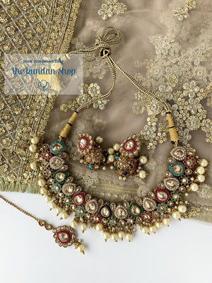 Raindrop Polki Choker - Multi-Color Champagne Stone, Necklace Sets - THE KUNDAN SHOP