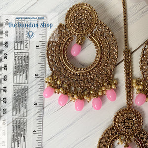 Catwalk - Bubblegum Pink, Earrings + Tikka - THE KUNDAN SHOP
