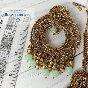 Catwalk - Mint, Earrings + Tikka - THE KUNDAN SHOP