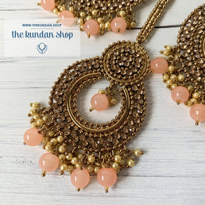 Catwalk - Peach, Earrings + Tikka - THE KUNDAN SHOP