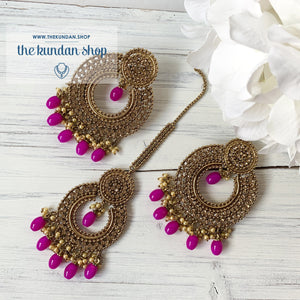Catwalk - Magenta, Earrings + Tikka - THE KUNDAN SHOP
