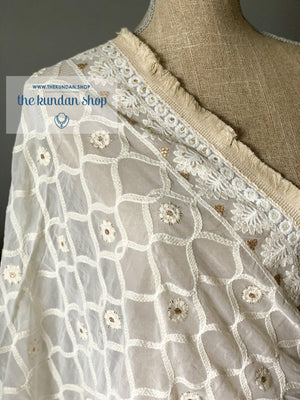Honeycomb , Gold & Fringe, Dupatta - THE KUNDAN SHOP