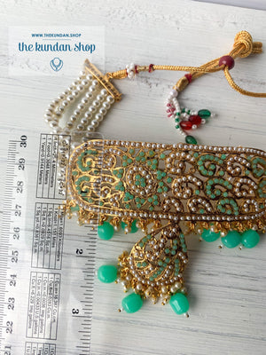 Flattered in Mint Green, Necklace Sets - THE KUNDAN SHOP