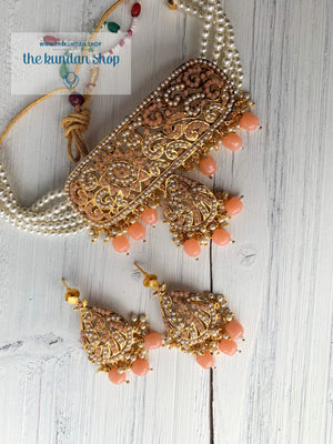 Flattered in Peach/Light Pink, Necklace Sets - THE KUNDAN SHOP