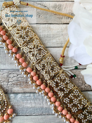 Classic & Timeless: Rejuvenated in Peach, Necklace Sets - THE KUNDAN SHOP