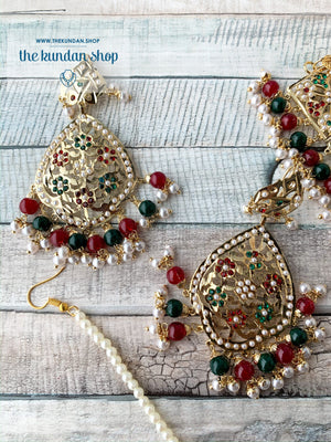 Classic & Timeless: Rejuvenated in Red+Green, Necklace Sets - THE KUNDAN SHOP