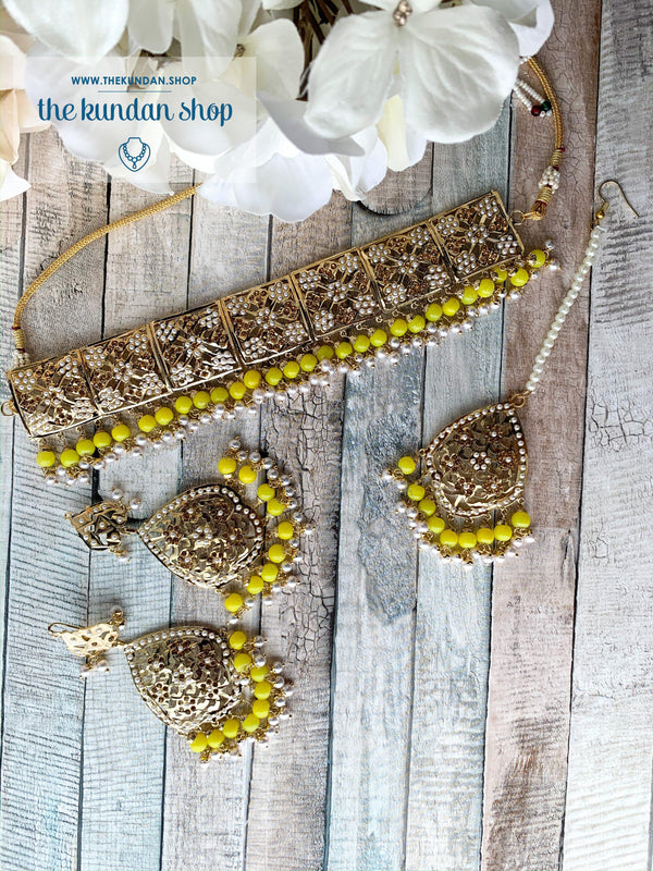 Classic & Timeless: Rejuvenated in Yellow, Necklace Sets - THE KUNDAN SHOP