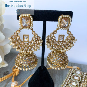 Allured in Clear Champagne, Necklace Sets - THE KUNDAN SHOP