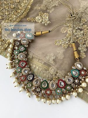 Raindrop Polki Choker - Multi-Color Clear Stone, Necklace Sets - THE KUNDAN SHOP