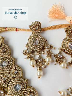 Entangled in Pearl + Clear Necklace Sets THE KUNDAN SHOP