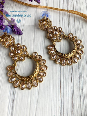 A Love of Polki in Clear Stone Necklace Sets THE KUNDAN SHOP
