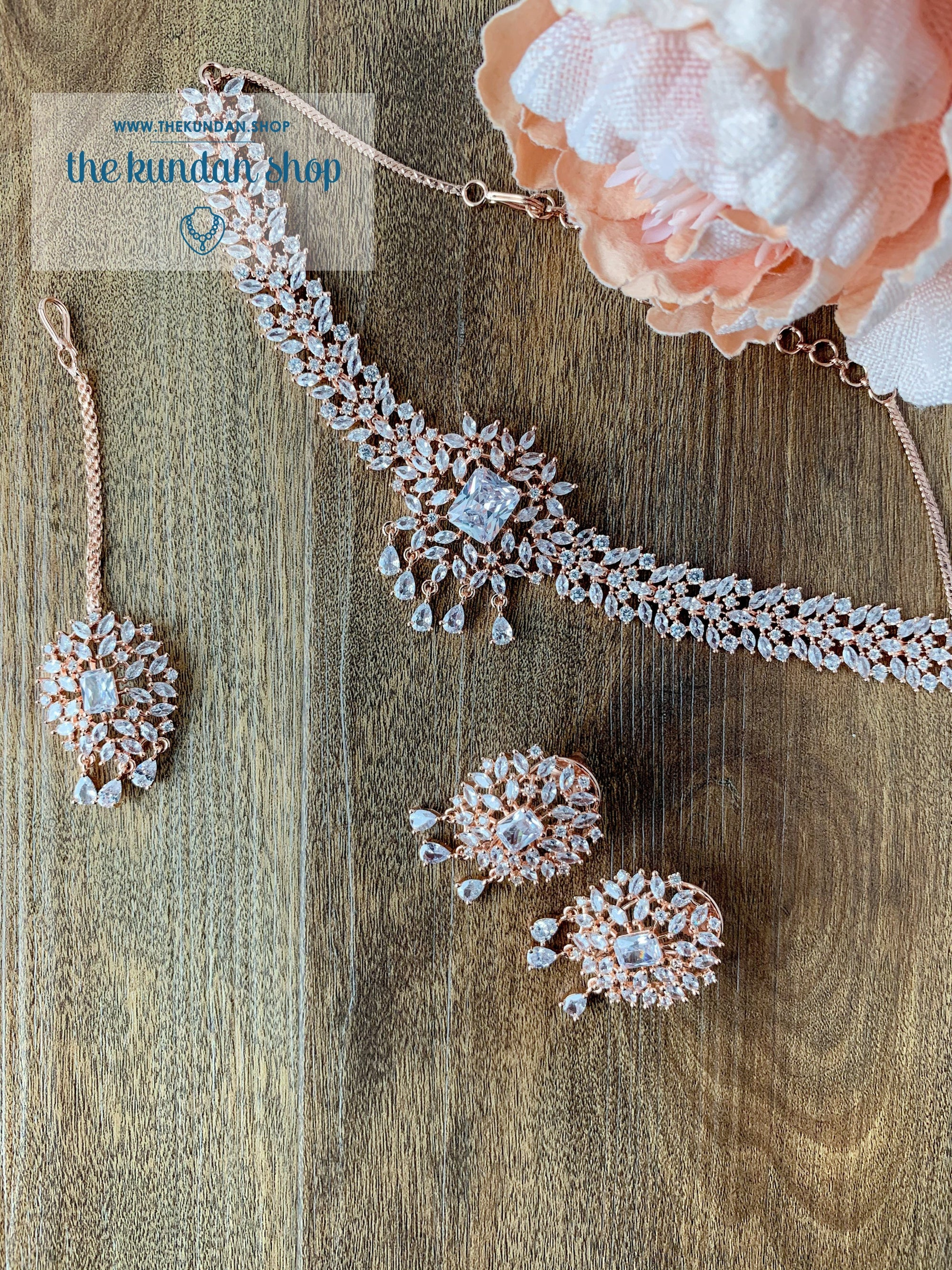 Captivate in Rose Gold Clear Necklace Sets THE KUNDAN SHOP