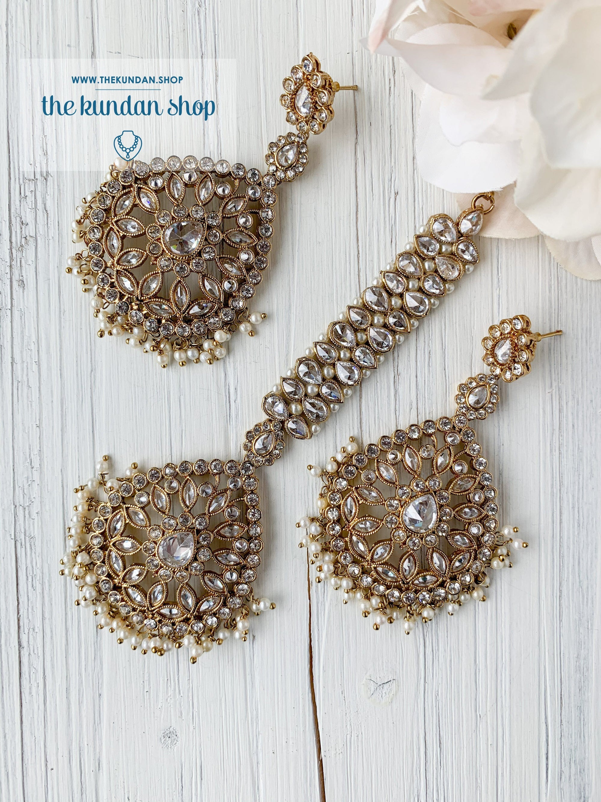 Infinite Love in Clear Earrings + Tikka THE KUNDAN SHOP