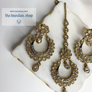 Rock the Tikka - Clear Stone, Earrings + Tikka - THE KUNDAN SHOP