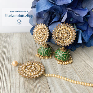 Starry Night, Earrings + Tikka - THE KUNDAN SHOP