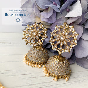 Pearl Polki Flower (various colours), Earrings + Tikka - THE KUNDAN SHOP