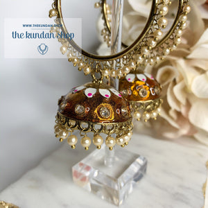 White Flower Baali - Copper, Baalis - THE KUNDAN SHOP