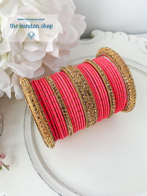 Rhinestone & Dotted Bangles in Coral Pink Bangles THE KUNDAN SHOP