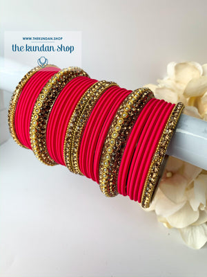 Rhinestone & Matte Coral Red Bangles, Bangles - THE KUNDAN SHOP