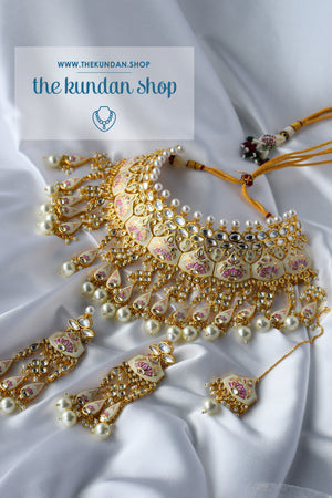 A Royal Affair in Cream, Necklace Sets - THE KUNDAN SHOP