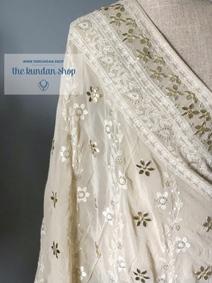 Around In Petals - Cream, Dupatta - THE KUNDAN SHOP